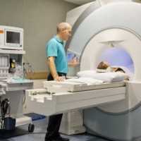 CT scanner with patient and doctor