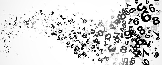 Abstract black and white numbers 670x270