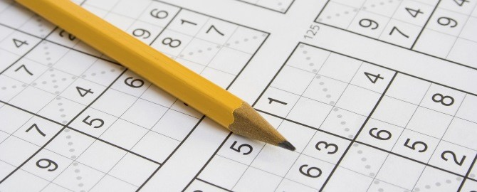 Sudoku and pencil 670x270