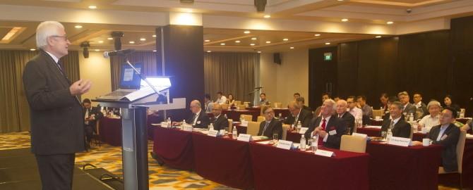 Sir Vivian Ramsey speaking to the EWI Singapore Conference 670x270